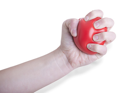 two stroke: Female Hand Holding a Heart isolated in white