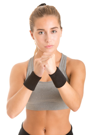 girl punch: Female Boxer Ready to Fight isolated in white