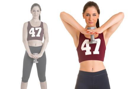 deltoids: Female doing standing dumbbell upright rows for training her deltoids, isolated in white Stock Photo