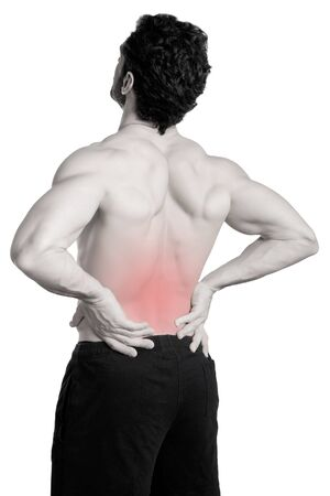 affliction: Male athlete with pain in his lower back, isolated in white Stock Photo