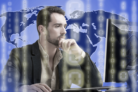 Businessman on top of a world map surrounded by binary code photo