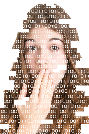 Shocked Woman Covering her Mouth with her hand. Binary code over the face. Image edges cut out. Stock Photo