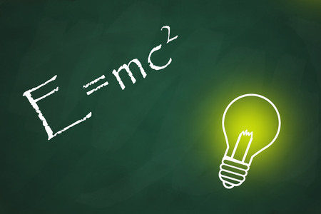 relativity: Chalkboard with a bright light bulb and theory of relativity