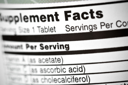 nutritional supplement: Closeup of a bottle of vitamins