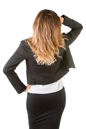 backside: Backside of a businesswoman, isolated in white Stock Photo