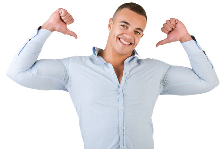 Happy man pointing at himself, isolated in white