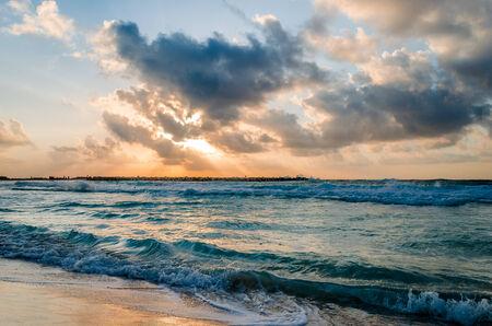 lining: Morning at Cancun beach