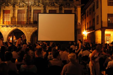 feature films: cinema on the street Stock Photo