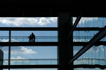 people silhouette in the building photo