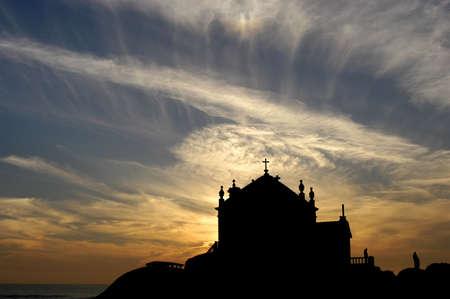 beach church silhouette photo