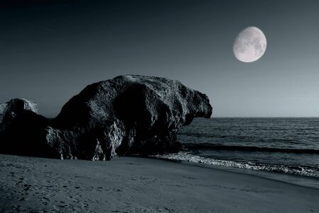 toned beach with full moon in portugal Stock Photo - 635747
