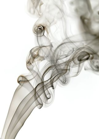dark smoke from a cigarrette in white background