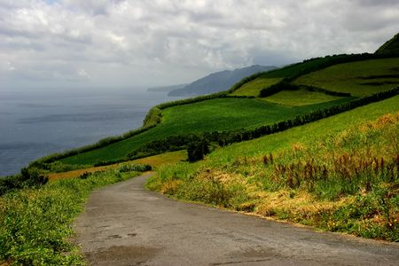 agriculture azores: road on the azores coast Stock Photo