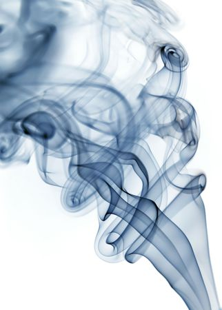 blue rays smoke abstract in white background photo