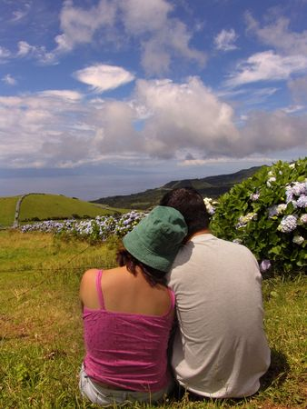 couple in azores fields