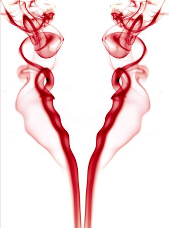 abstract red smoke in a white background Stock Photo