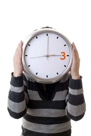 woman with a clock covering her head