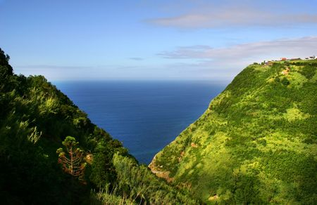 village at the coast in azores island Stock Photo
