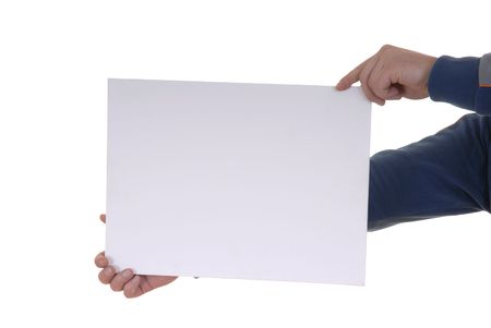 Hand holding blank card in white background Stock Photo - 886147
