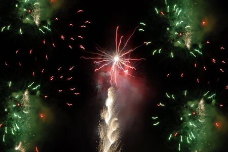 colored fireworks in the dark sky at night Stock Photo - 886155