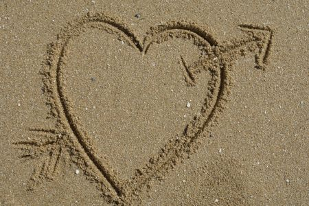 love message, an heart draw in the sand Stock Photo - 889571