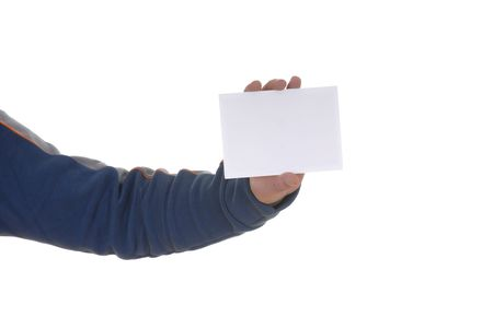 young man hand showing a white card Stock Photo - 890327