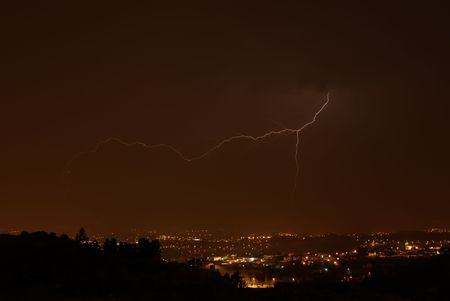 thunder at night over a city in portugal Stock Photo - 896849