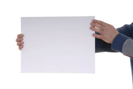 Hand holding blank card in a white background Stock Photo - 903711