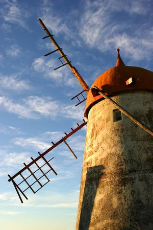 azores ancient windmill at sao miguel island