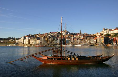 typical boat at oporto city on the north of portugal photo