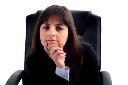 amabilidad: joven mujer de negocios retrato en fondo blanco
