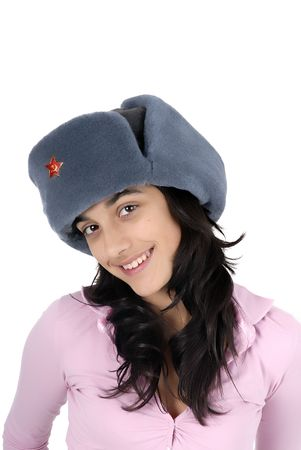 russian hat: young casual girl with a russian hat