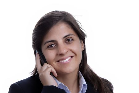 young business woman on the phone isolated on white Stock Photo - 1768589