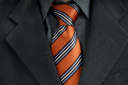 silk wool: detail of a Business man Suit with red tie Stock Photo