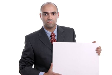 business man with an empty white card Stock Photo - 1807952
