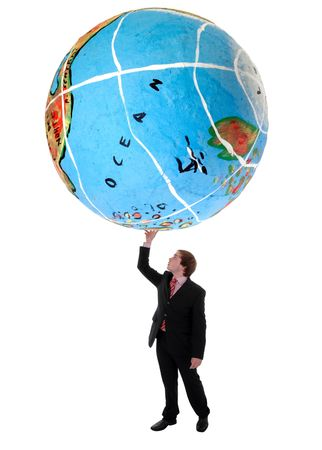 masculin: young business man holding a globe with a hand