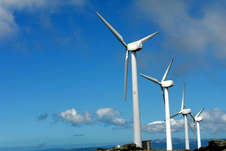 conservational: a few wind turbines on the mountain Stock Photo