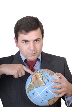 masculin: business man holding a globe in white background