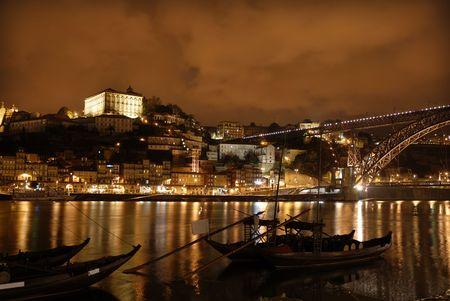 oporto: oporto town by night in the north of portugal