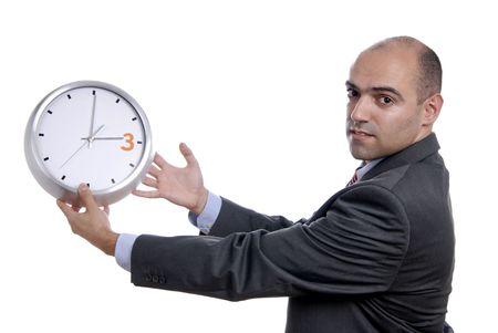A handsome businessman holding a clock photo