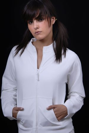 Young woman posing in black background in casual clothes Stock Photo - 1876356