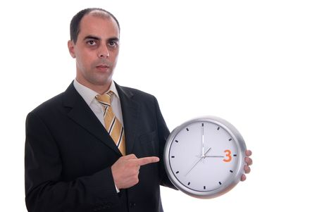 A handsome business man holding a clock Stock Photo - 1876549