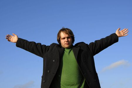 man with open arms with the sky as background Stock Photo - 1896705