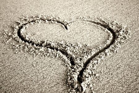 love message, an heart draw in the sand Stock Photo - 1896775