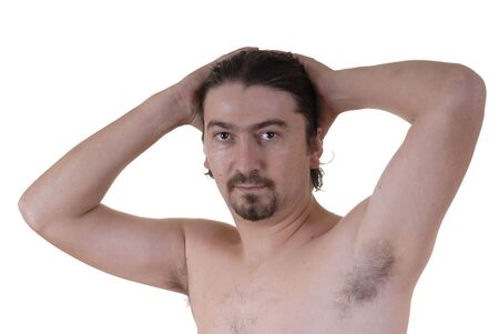 without clothes: youg male without clothes in a white background portrait