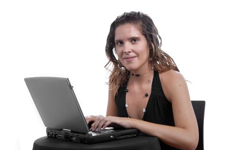 young business woman working with her laptop photo