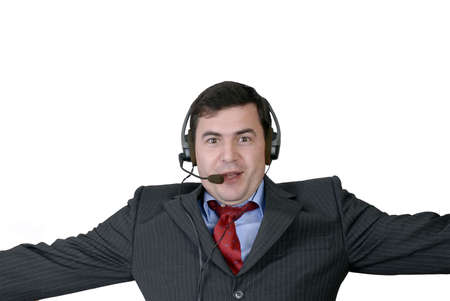 young call center man talking by the phone Stock Photo - 1921288