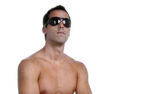 naked muscular male model with sunglasses Stock Photo - 1942642