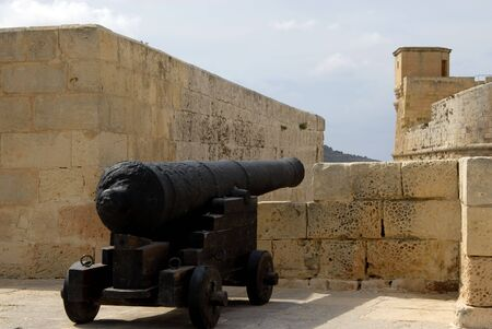 siege: Medieval cannon on the Citadel bastions in Gozo, Malta