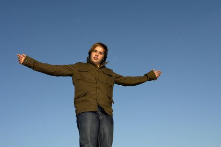 man with open arms with the sky as background Stock Photo - 1952142